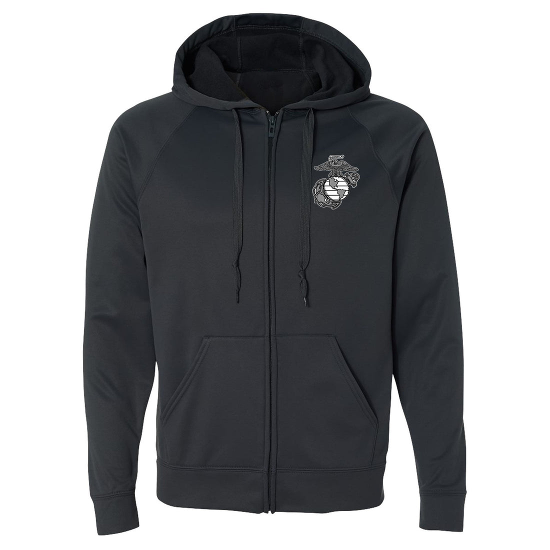 Front view of the grey zip-up USMC hoodie with the eagle, globe, and anchor in the top corner from Marine Corps Direct.