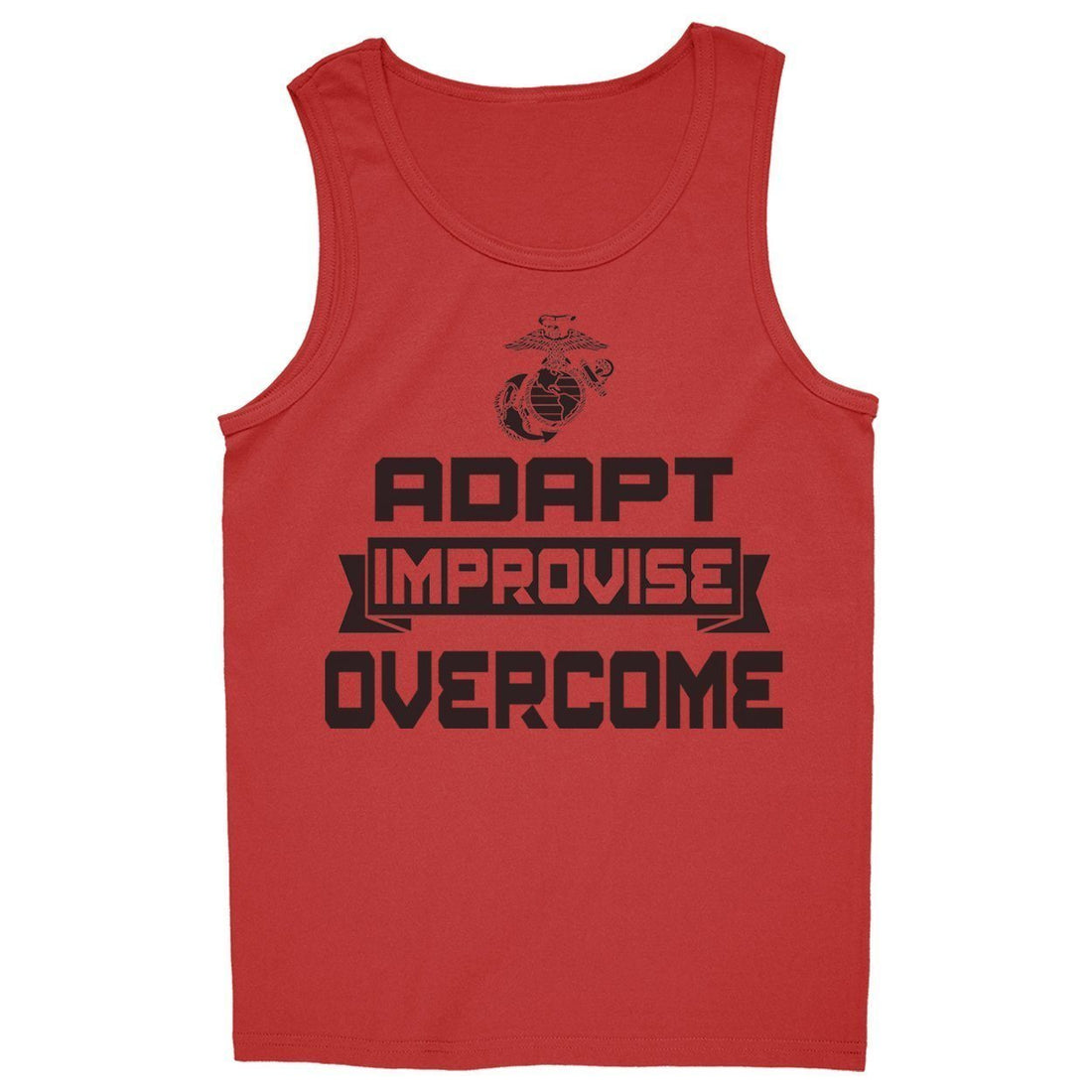 "Red USMC tank top that reads ""Adapt, Improvise, Overcome"" on the front."