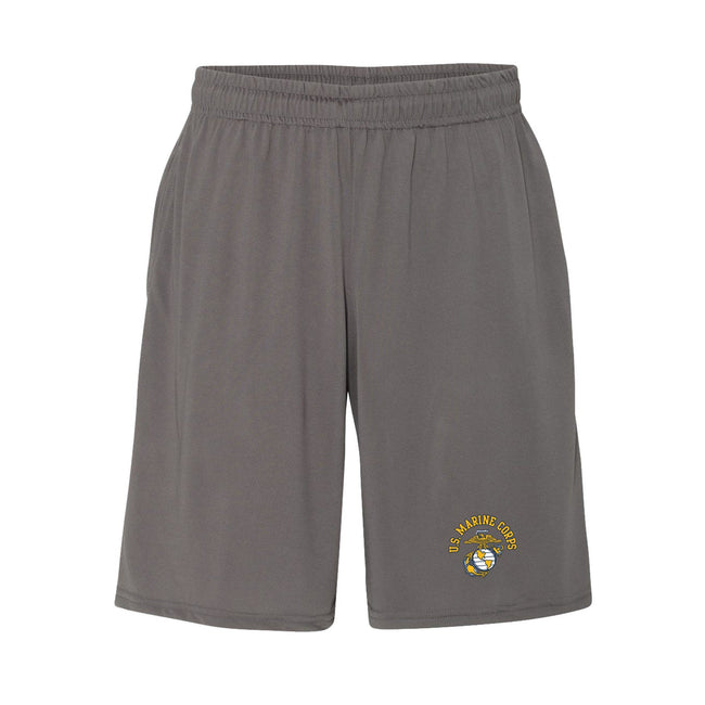 Front view of the charcoal USMC shorts with the eagle, globe, and anchor emblem on the leg from Marine Corps Direct.