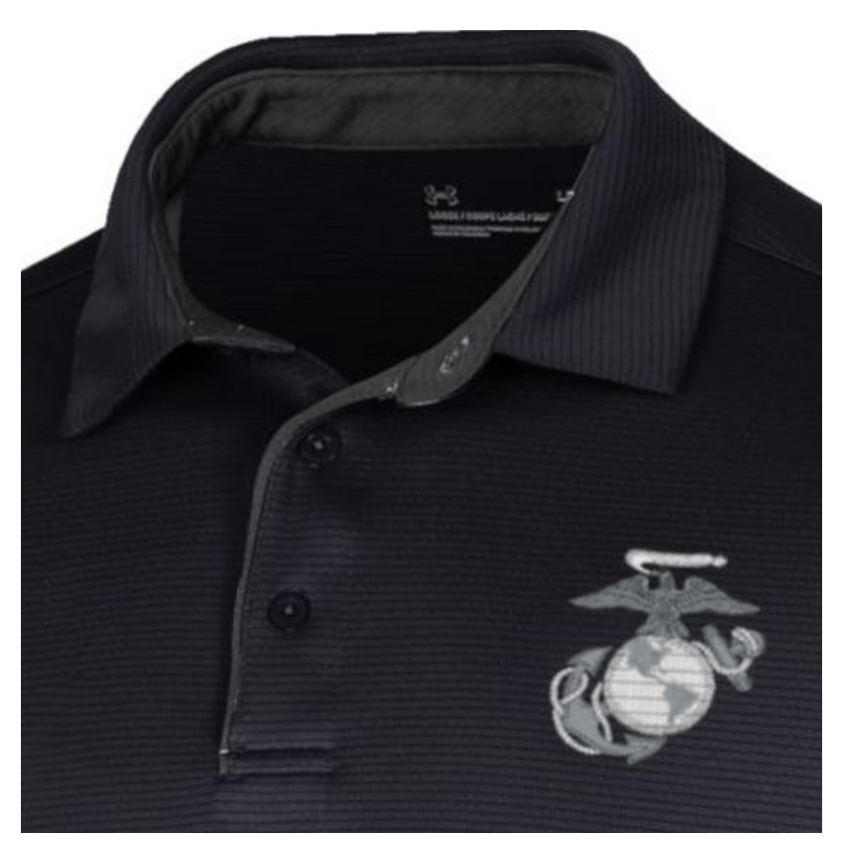 Under Armour Marines Tech Polo Black