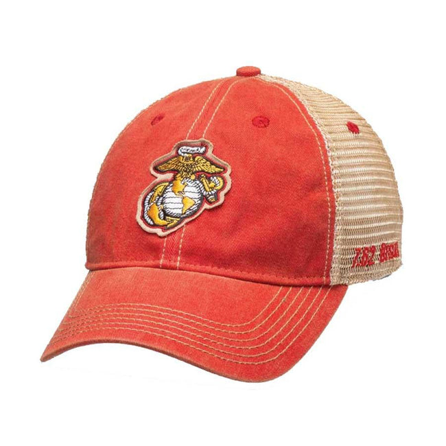 HAT USMC EGA Vintage Trucker Hat Red - Marine Corps Direct