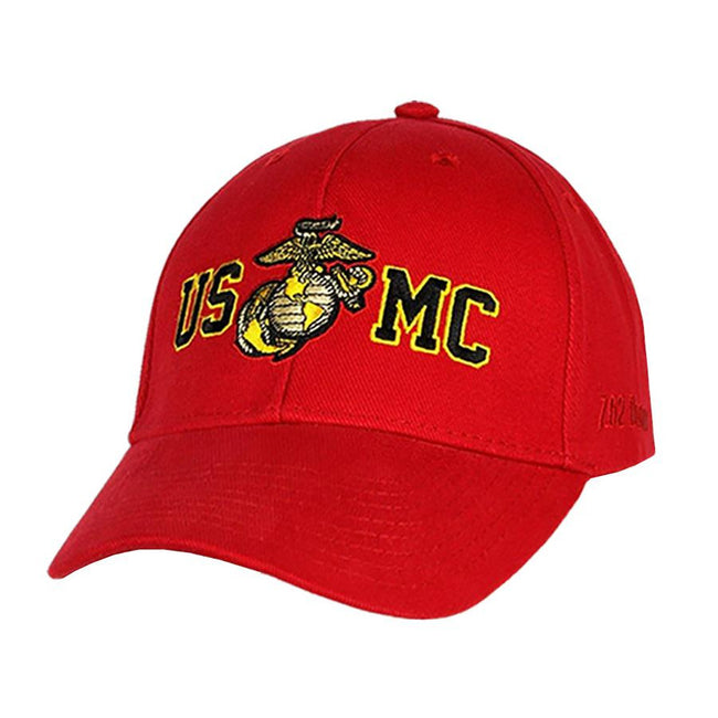 Hat USMC Gold Outline Twill Hat - Red - Marine Corps Direct