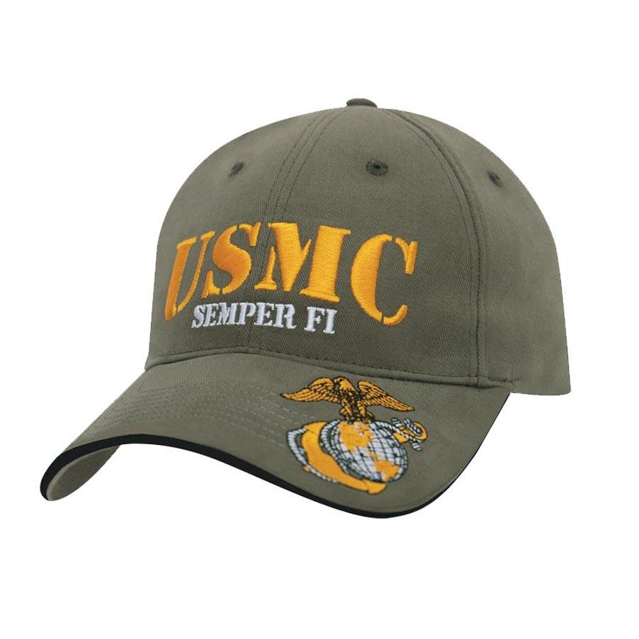 Rothco HAT USMC Semper Fi Hat (Military Green & Gold) - Marine Corps Direct