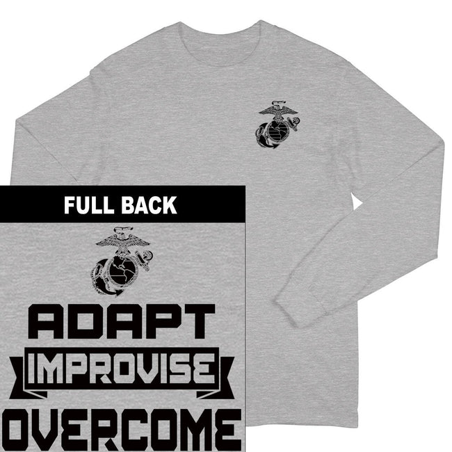 "Sport grey USMC shirt with the Marine Corps logo on the front and the words ""Adapt, Improvise, Overcome"" on the back."