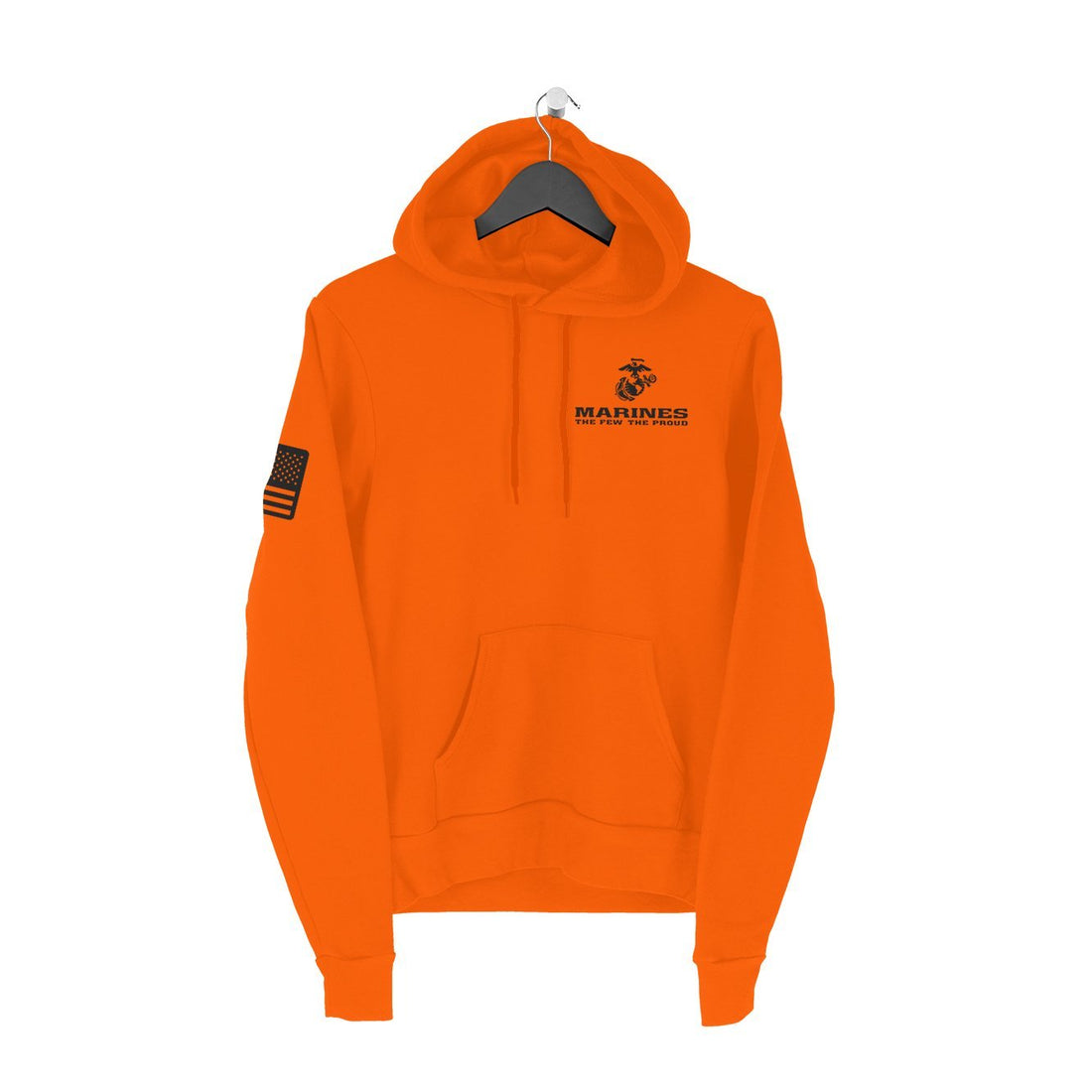USMC And Flag Orange Hoodie