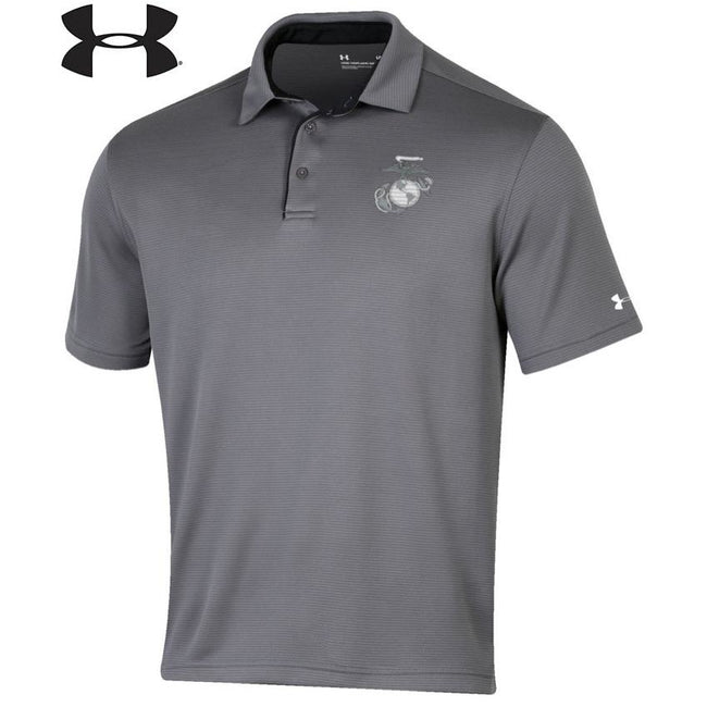 Under Armour Marines Tech Performance Polo Storm Gray - Marine Corps Direct