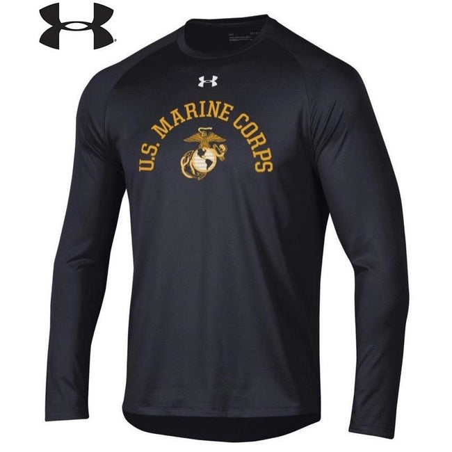 Under Armour U.S. Marine Corps Dri-Fit Performance Black Long Sleeve Tee - Marine Corps Direct