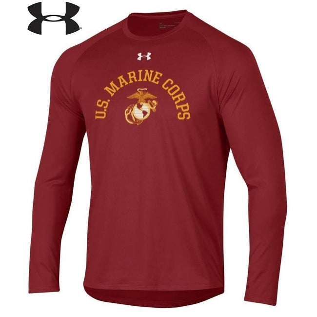 Under Armour U.S. Marine Corps Dri-Fit Performance Cardinal Long Sleeve Tee (LIMITED SIZES) - Marine Corps Direct
