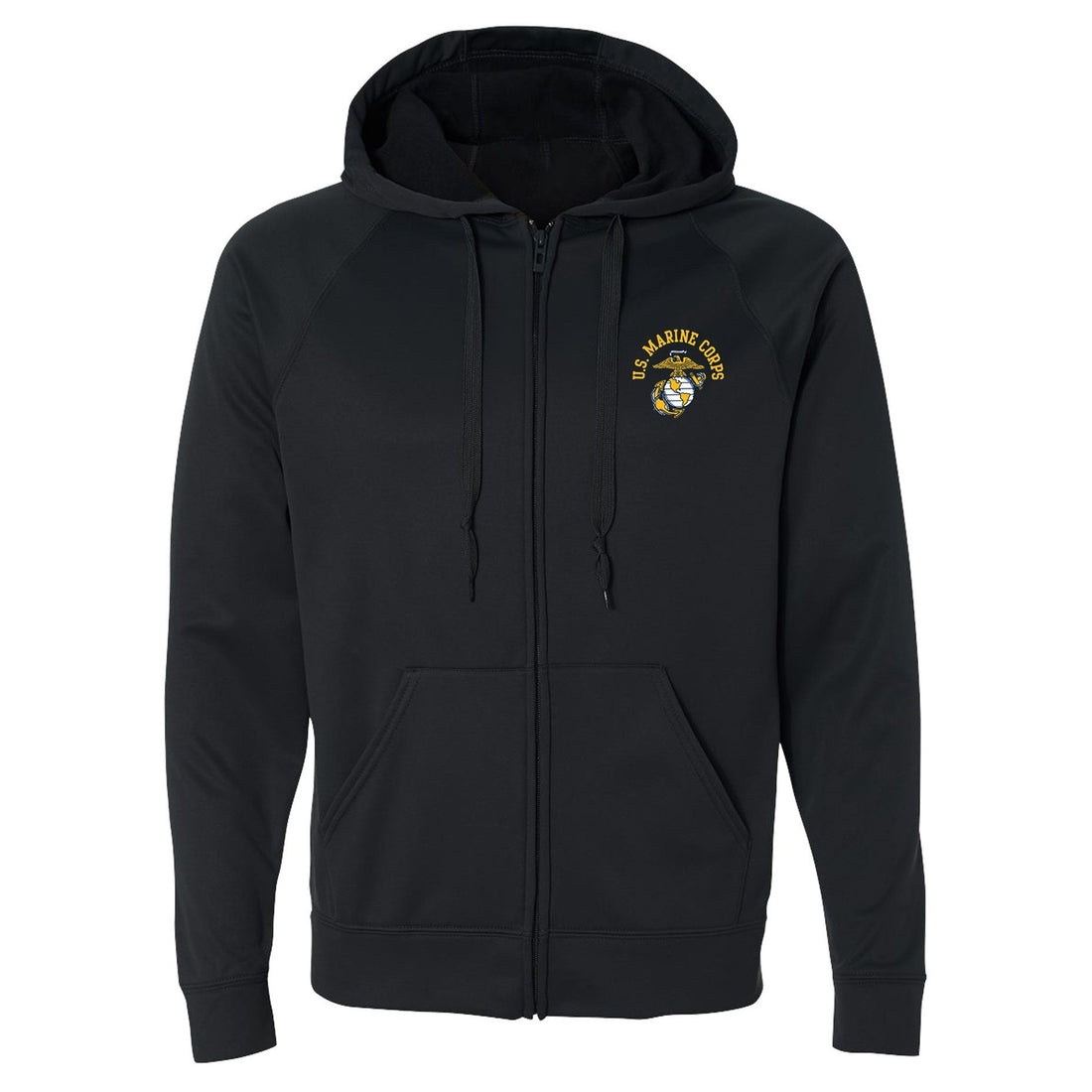 Front view of the black, full-zip USMC hoodie with the eagle, globe, and anchor emblem in the top corner from Marine Corps Direct.