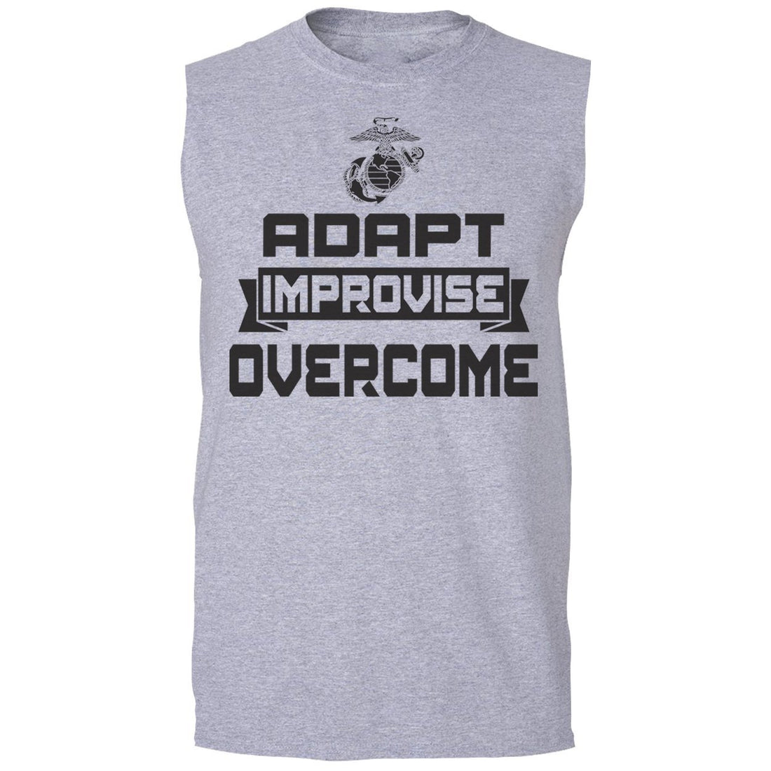Sport gray sleeveless USMC clothing with Adapt, Improvise, Overcome on the front.