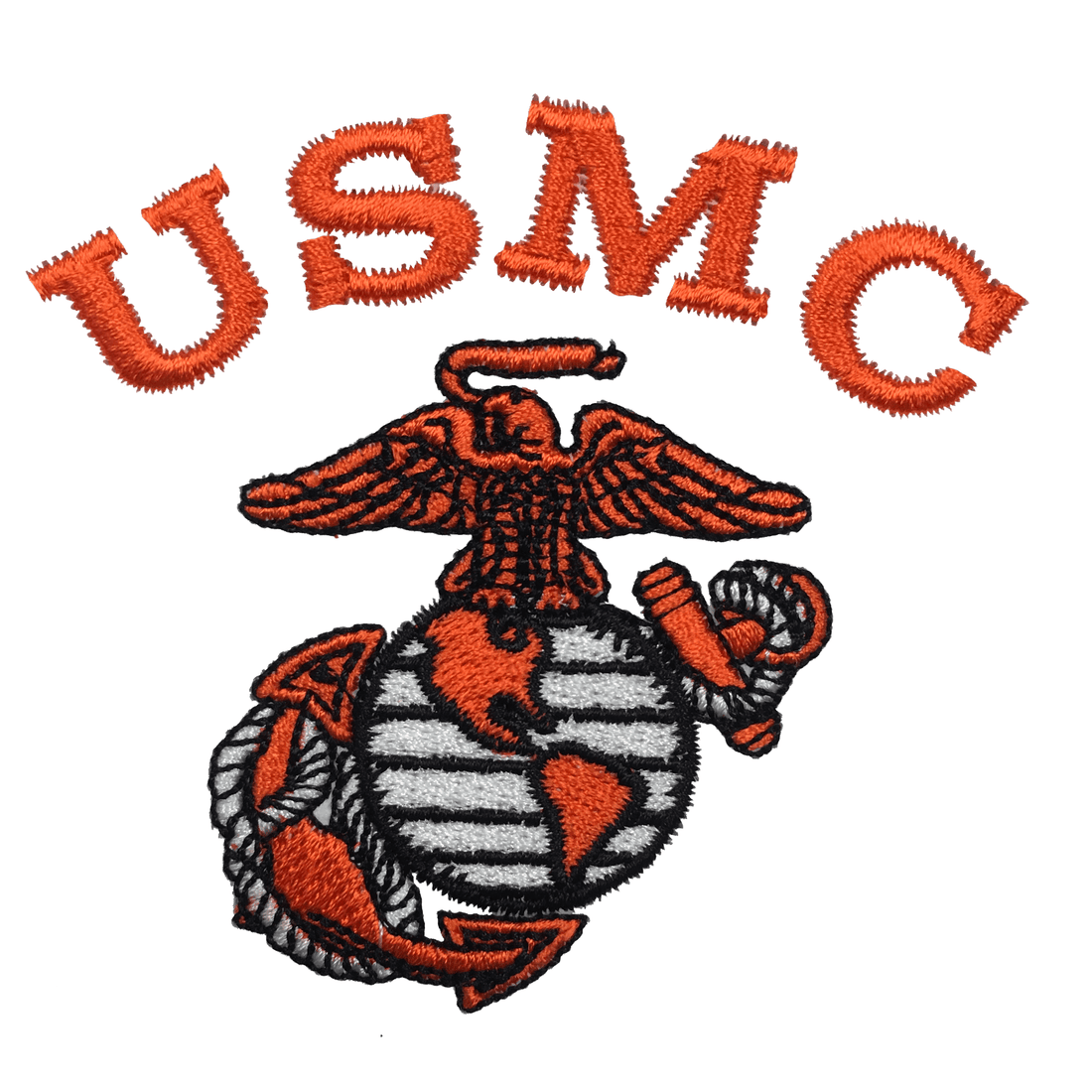 USMC Safety Orange Embroidered Black Hooded Sweatshirt