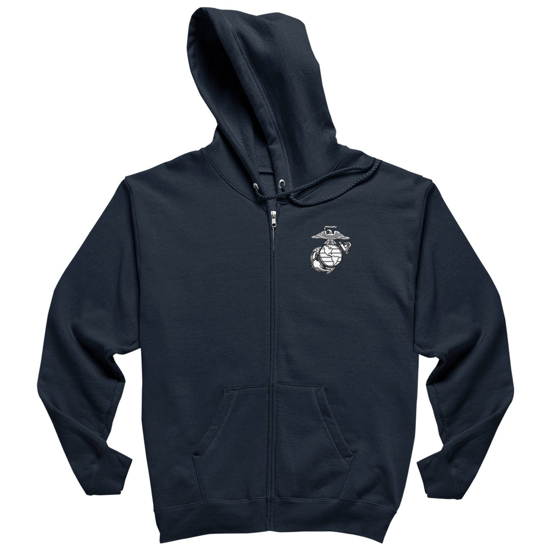 White EGA Screen Printed Chest Seal Heavy Blend™ Full-Zip Hoodie - Marine Corps Direct