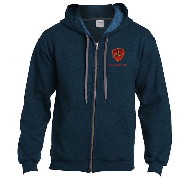 Frontal shot of the midnight blue Marine Corps Hoodie with 3rd Mar Div emblem embroidered at the top corner.