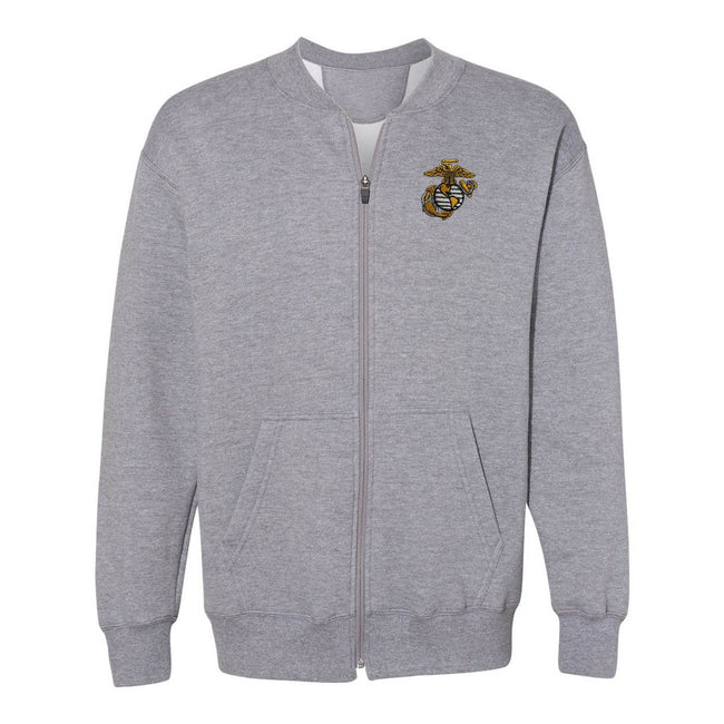 Sport grey zip-up USMC sweatshirt from Marine Corps Direct with the eagle, globe, and anchor in the top corner.