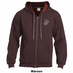 USMC HEAVY BLEND ADULT VINTAGE FULL ZIP HOODED SWEATSHIRT - Marine Corps Direct  - 6