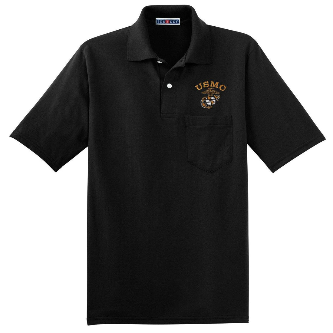 Tonal USMC Embroidered Pocket Polo
