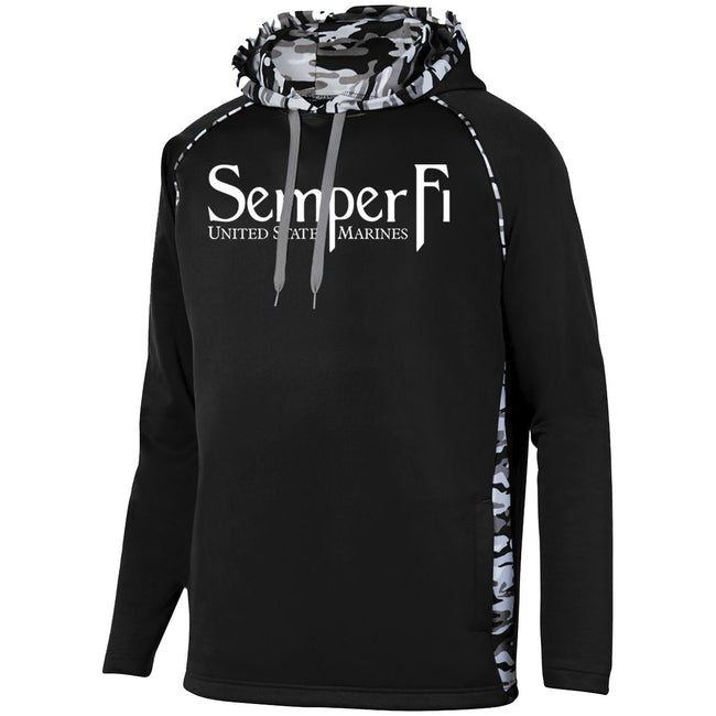 Performance USMC sweatshirt with the motto Semper Fi and camo details- Marine Corps Direct