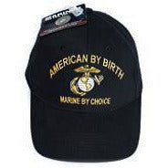 "Front view of the black USMC baseball cap from Marine Corps Direct that says, ""Amercian by birth, Marine by choice."""