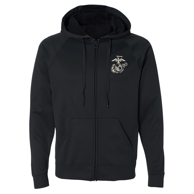 Black full zip embroidered USMC sweatshirt - Marine Corps Direct