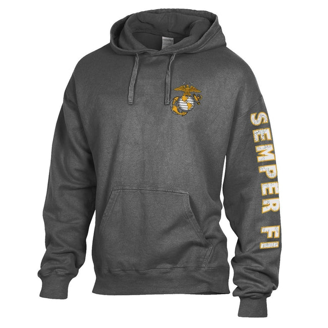 Comfort Wash Tonal EGA Railroad Grey Hoodie with Semper Fi Sleeve Drop - Marine Corps Direct