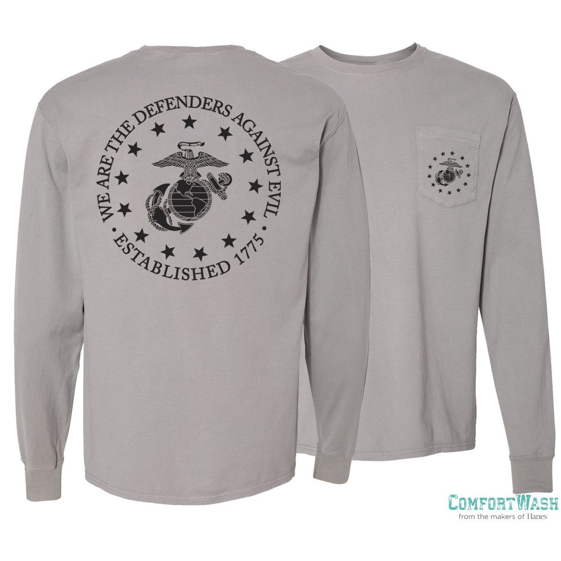 Comfort Wash Long Sleeve Pocket Tee-Defender