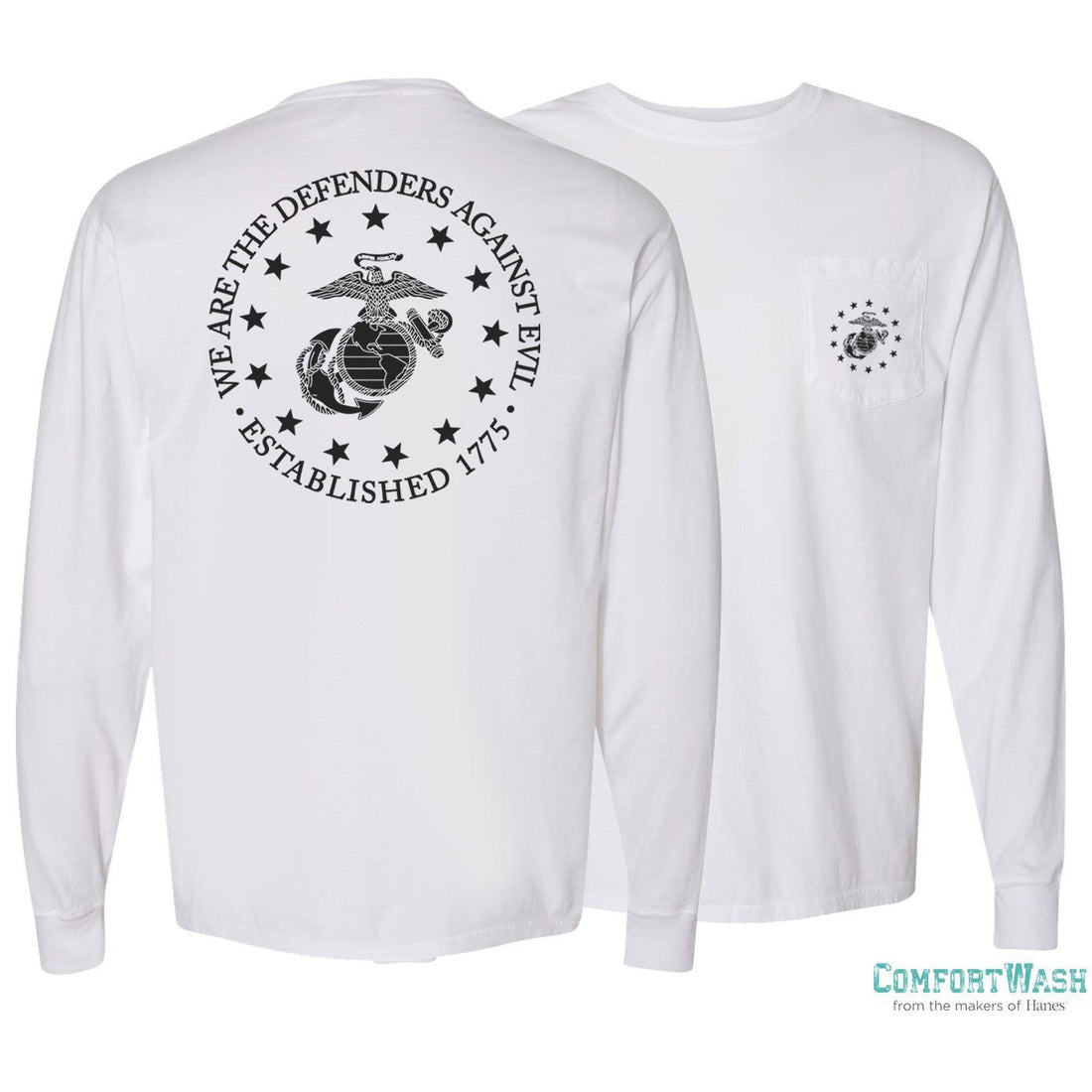 Front and back of the white Marine Corps long sleeve shirt from Marine Corps Direct.