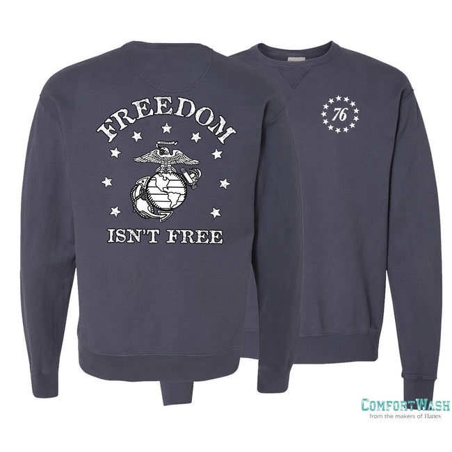 "Front and back view of the USMC sweatshirt in navy at Marine Corps Direct that says ""Freedom isn't free"" on the back."