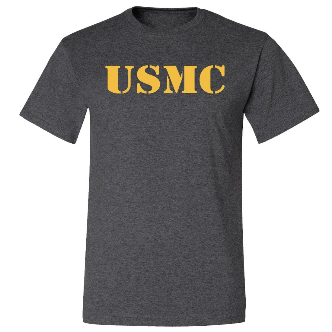 CLOSEOUT Gold USMC BLACK Heather T-Shirt - Marine Corps Direct