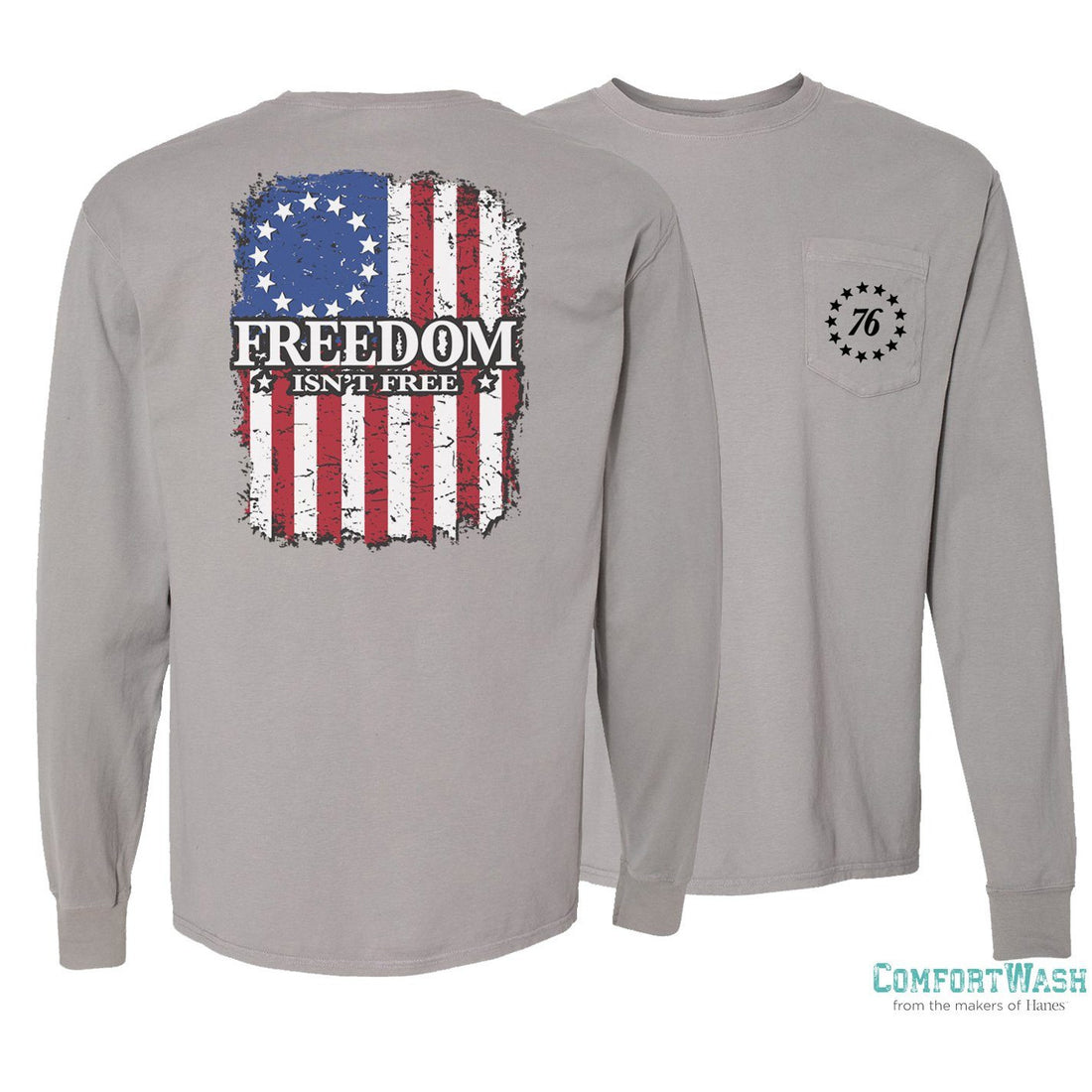 Comfort Wash Pocket Long Sleeve Tee-Freedom Flag