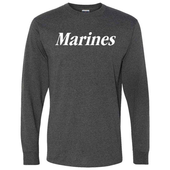CLOSEOUT Marines Heather Black Long Sleeve T-Shirt - Marine Corps Direct