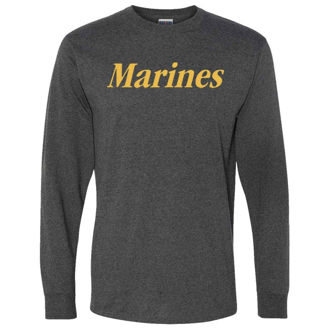 CLOSEOUT Gold Marines Heather Black Long Sleeve T-Shirt - Marine Corps Direct