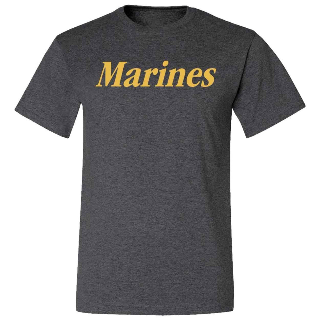 CLOSEOUT Gold Marines Heather Black T-Shirt - Marine Corps Direct