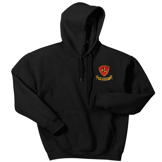 A front view of the black 3rd Mar Div Association Embroidered Hoodie supporting the US Marine Corps.
