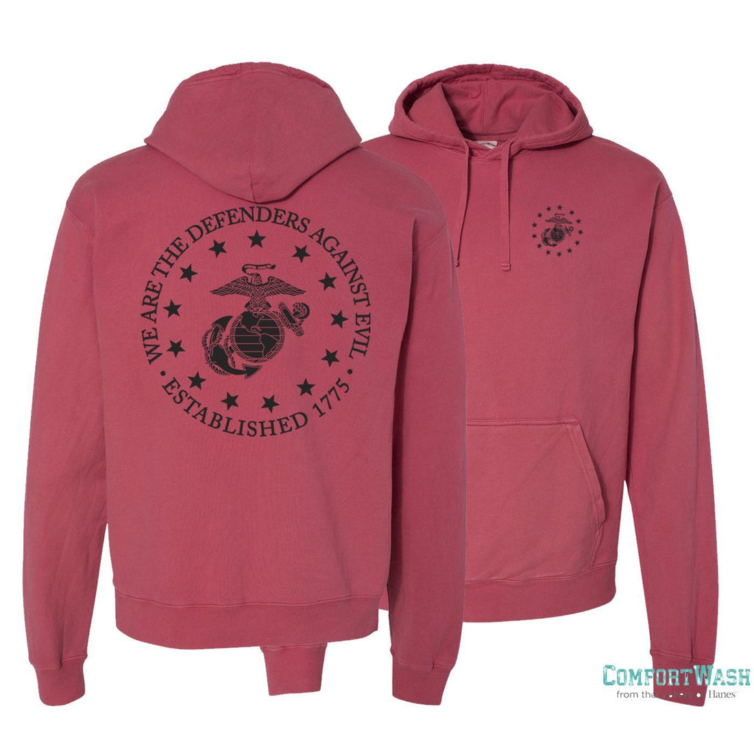 USMC sweatshirt with EGA seal surrounded by stars on the front and back - Marine Corps Direct