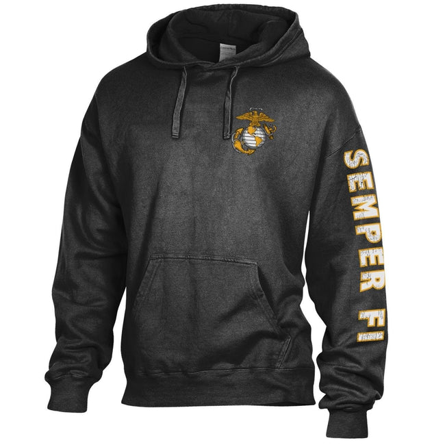 Comfort Wash Tonal EGA Black Hoodie with Semper Fi Sleeve Drop - Marine Corps Direct
