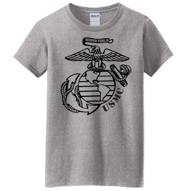 "Gray Marine shirt with the eagle, globe, and anchor insignia on the front. The eagle is saying, ""Semper Fidelis."""