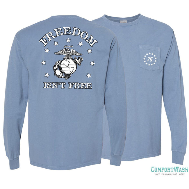 "Front and back view of the saltwater blue USMC long sleeve from Marine Corps Direct with the words ""Freedom Isn't Free"" written on the back."