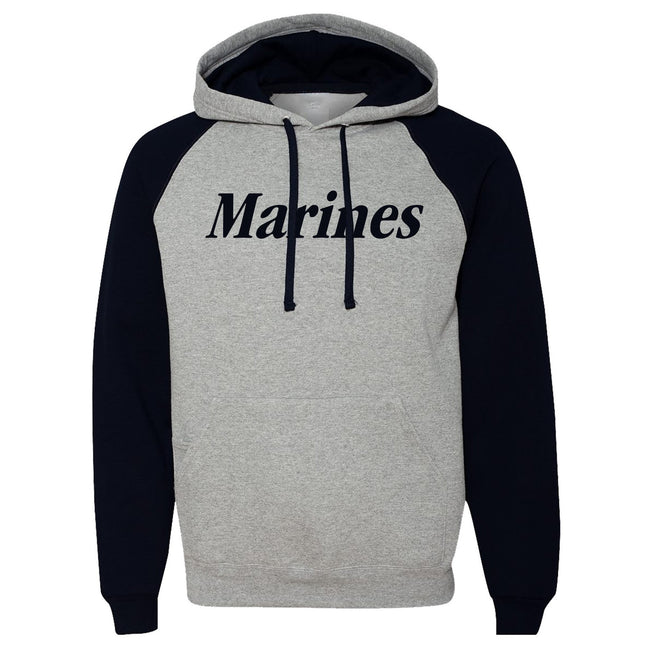 Marines Jerzees Raglan With Phone Pocket Hoodie