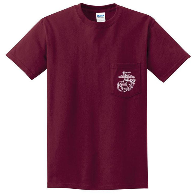 Maroon pocket tee with white EGA - Marine Corps Direct
