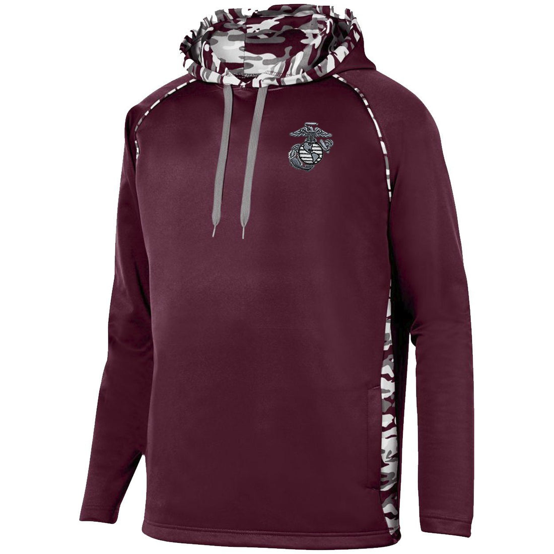 Maroon USMC hoodie with the eagle, globe, and anchor logo embroidered on the top corner from Marine Corps Direct.