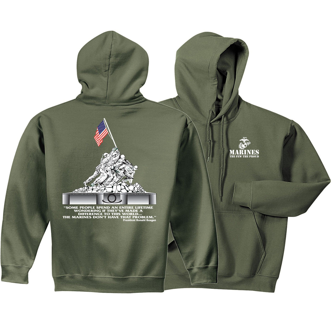 Iwo Jima Front & Back Hoodie (MULTIPLE COLORS) - Marine Corps Direct  - 3