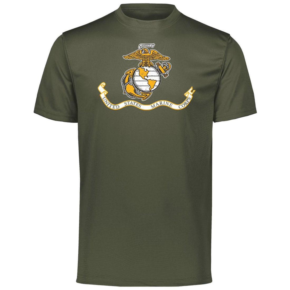 Marines Distressed Banner Augusta Dri-Fit T-Shirt