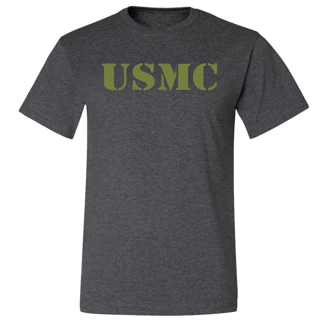 CLOSEOUT OD Green USMC BLACK Heather T-Shirt ($7.95) - Marine Corps Direct