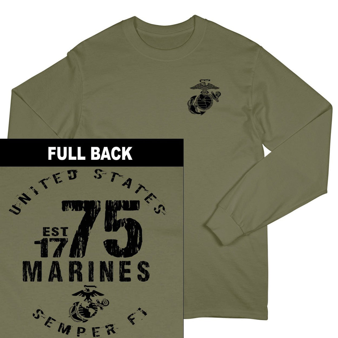 Marines Est. 75 2-Sided Long Sleeve T-Shirt - Marine Corps Direct