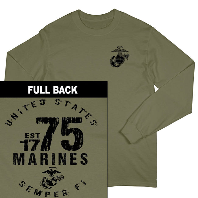 Marines Est. 75 2-Sided Long Sleeve T-Shirt