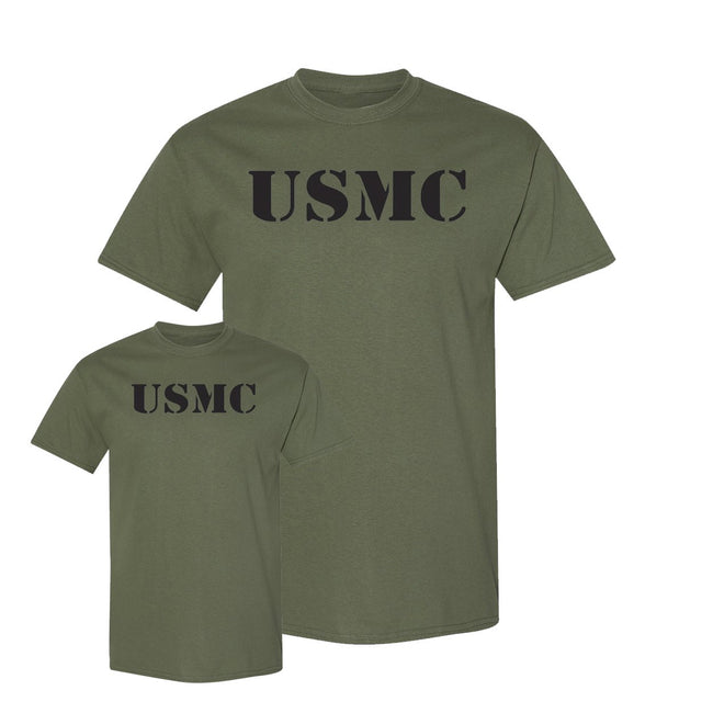 USMC Mini Me Military Green Adult and Youth Combo T-Shirts
