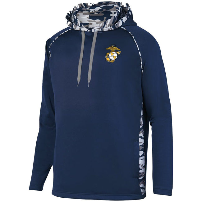 Performance EGA USMC sweatshirt with camo print on the sides and hood - Marine Corps Direct