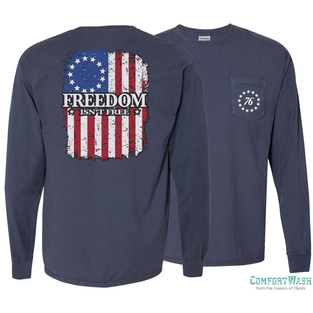 "Front and back of the USMC long sleeve shirt in navy with the words ""Freedom Isn't Free"" written across a confederate flag on the back."