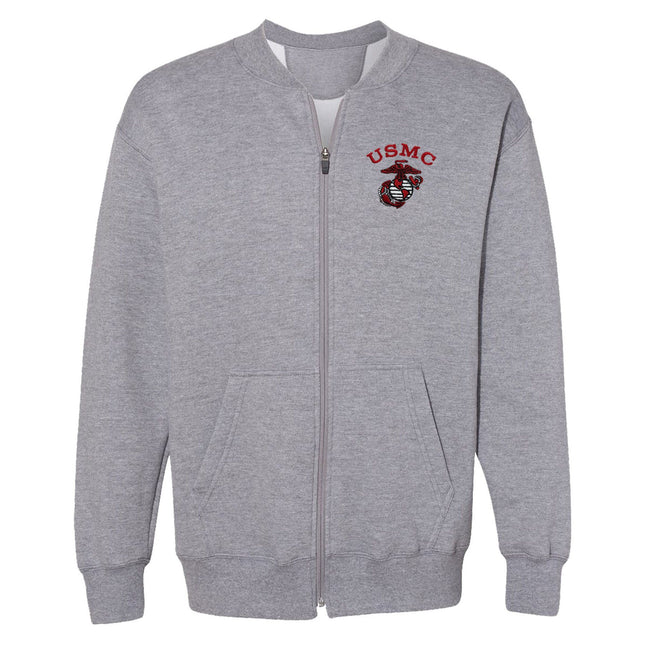 Red USMC Fleece Full-Zip Cadet Collar Embroidered Sweatshirt