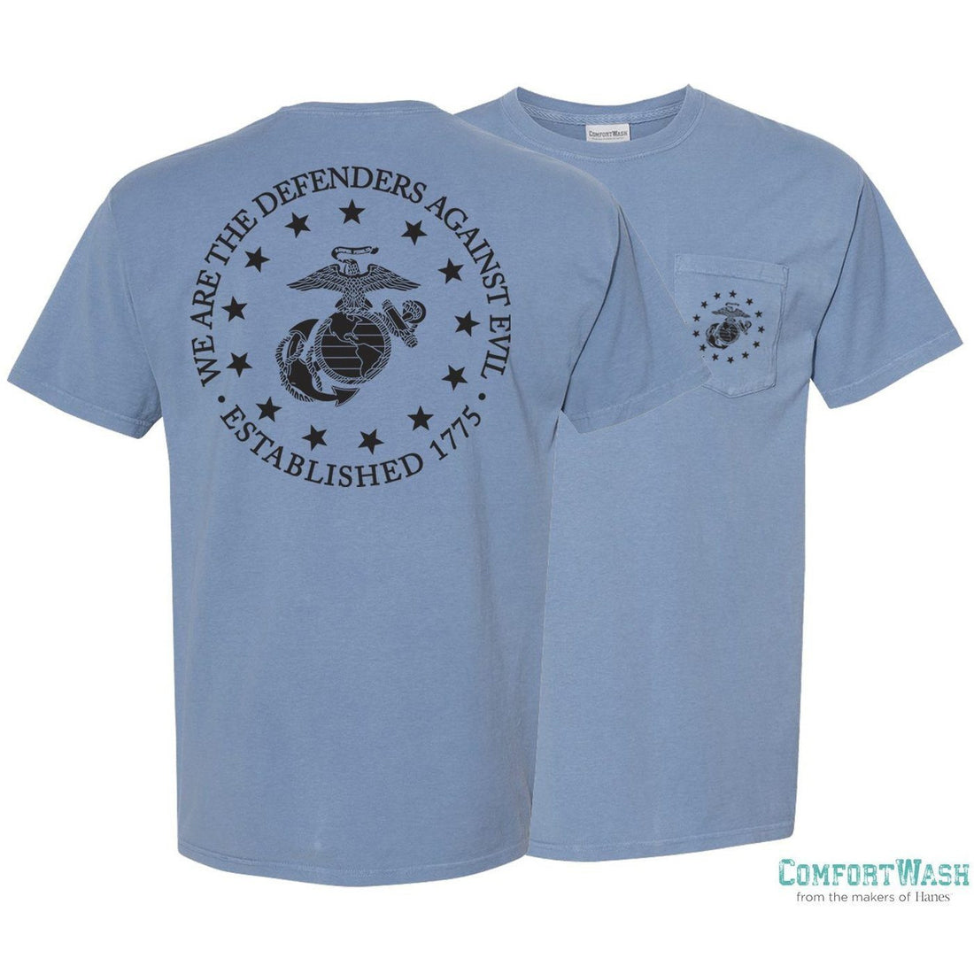 "Front and back view of the granite color USMC shirt from Marine Corps Direct with the eagle, globe, and anchor emblem on the front pocket and the words ""We are the defenders against evil. Established 1775"" on the back surrounding a large eagle, globe, and anchor."